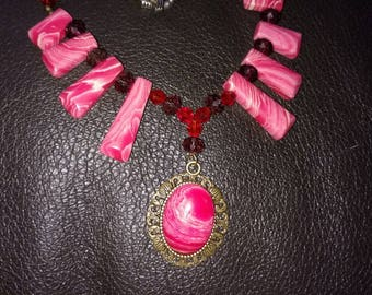 Pink Sardonyx Agate and crystal necklace