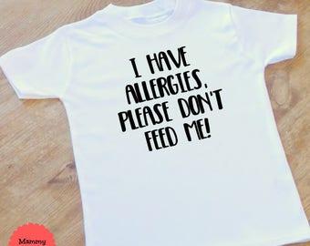 allergy alert, allergy tshirt, allergy shirt, no dairy, no gluten, nut allergy, food allergies, allergy awareness, medic alert, nursery,