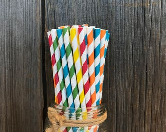 125 Fiesta Themed Paper Straws- Red, Yellow, Orange, Green and Teal Blue Striped Straws- Birthday Party Supply - Picnic Supply