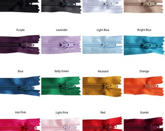 9 inch Rainbow Pack of Zippers - 25 pieces You Pick Colors