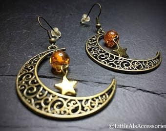 Moon Earrings, Bohemian Earrings, Luna Moon Earrings, Moon Earrings, Luna Earrings, Crescent Moon Earrings, Half Moon Earrings, Boho Jewelry