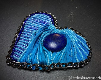 Blue Beaded Brooch, Blue Heart Brooch, Lapis Lazuli & Shibori Brooch, Bead Embroidered Brooch, Shibori Jewellery, Lapis Lazuli Jewelry, Gift