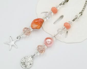Ceiling Fan and Light Pull Chain Set with Sand Dollar and Starfish Charms. Natural Shell Coral Color.  Beach Housewarming Gift Idea.