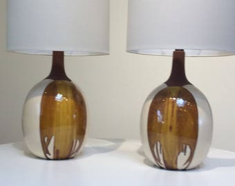 Pair of mid century drip glaze lamps