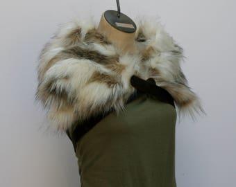White Brown Winterfox Fur Ruff, Slim Leather Chest Strap, Barbarian Fur Collar Leather X Straps, Moyamensing, fox pelt imitation fur mantle