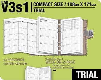 TRIAL [FC compact / B6 slim v3s1 w/o DAILY ] November to December 2017 - Filofax Inserts Refills Printable Binder Planner Midori