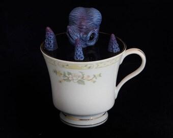 Octopus Cthulhu Teacup Sea Creature creature sculpted sculpt OOAK  handmade artist doll cute weird steampunk steam punk kraken baby blue