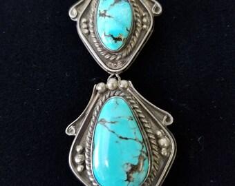 Navajo Turquoise Pendant Brooch - Vintage  #95