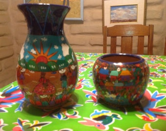 Vintage pair of colorful Mexican terra cotta hand painted folk art vases or containers
