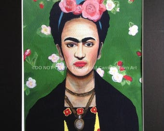 Frida Kahlo Print, Frida Painting Giclee, Includes Matte, Colorful Artwork!