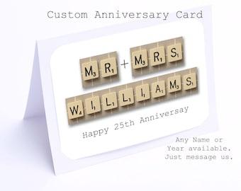 25th Anniversary Card in Scrabble