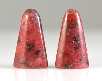 Rhodonite Tongues or Bullet Shape 25x15x7mm Pair (2 Pieces)