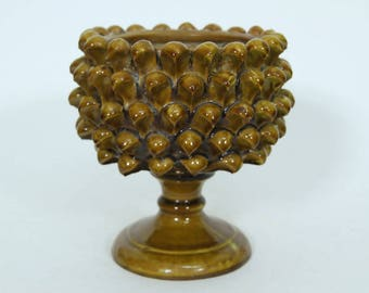 """5"""" Vintage Spiky Ceramic Footed Planter, Made in Italy R947, Green Brown, Unique Decorative"""
