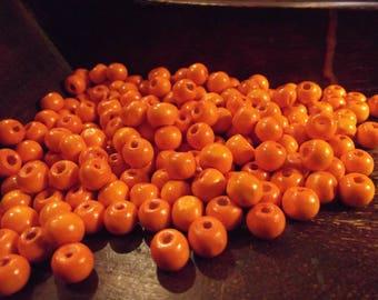 100 wood beads 8 mm x 6 mm color orange
