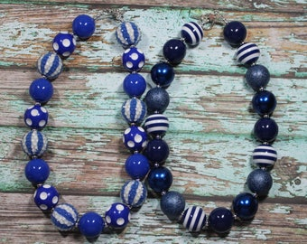 Royal Blue or Navy Blue Multi Pattern Bead Handmade Chunky Bead Bubblegum Boutique Necklace