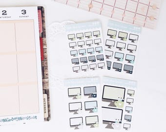 Computer Planner Stickers, stickers for work, Icon Planner Stickers, Kiss Cut Sticker, Decorative Planner Stickers, Custom Planner Stickers
