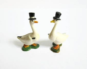 Goosey Gander Fairykins Lot, Vintage Miniature, Marx Toys, Nursery Rhyme Character, Goose Bird, Black Top Hat and Cane