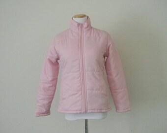 Vintage women's pink lightweight jacket/ hipster preppy geek nerd/ polyester size M