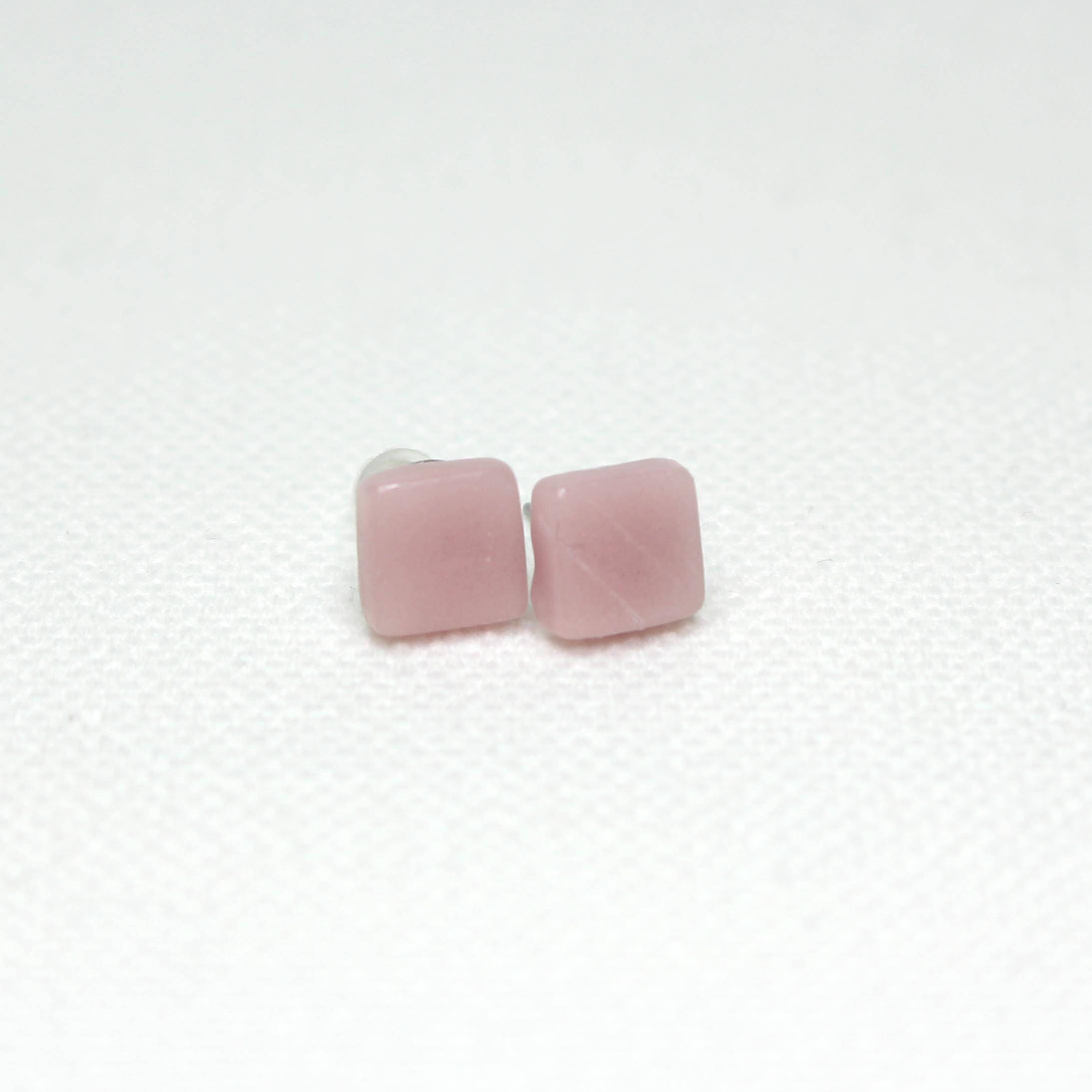 stud dichroic glass earrings silver pink product and clear sterling