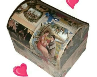 Victorian Romantic JEWELRY  BOX Vintage Love Scene Jewellery Ring Box Courtship Marriage Proposal Lovers Couple Jewelry Case Valentine Gift
