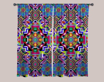 8-Bit Trip Curtain (1 Panel) // Psychedelic Men and Womens Festival Clothing, Accessories & Decor by Samuel Farrand