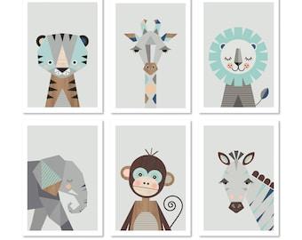 "Safari prints in mint, Series of six, A4 or 8x10"" size. Nursery prints, nursery art, kids art, nursery decor, playroom art, animal prints."