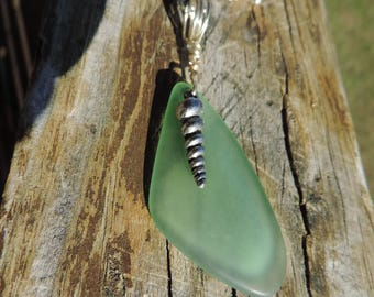 "Green Sea Glass Necklace, Green Beach Glass Necklace, 16""-19"", NWT"
