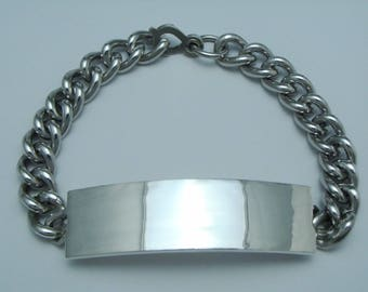 """ANTIQUE 925 STERLING Silver Id Tag Curb Chain Bracelet 7.5"""""""