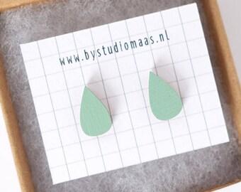 Wood earstuds, wooden earrings, mint color, mint ear studs, geometric earrings, for her, wedding jewelry, laser cut jewellery, simple