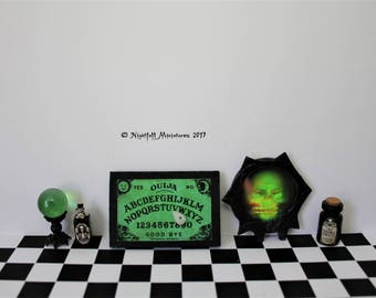 Dollhouse Miniature Halloween Crystal Ball Ouija Board and spooky potion bottles in 1:12 scale