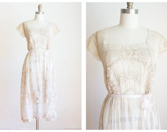 edwardian embroidered filet lace lawn dress   antique dress   size small medium