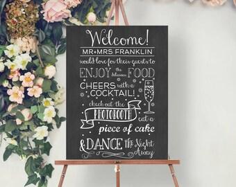 Custom Chalkboard Wedding Reception Welcome Sign - Wedding Welcome Sign - Chalkboard Welcome Sign - Wedding Reception - Printed or Digital