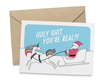 Santa Meet Unicorn - Christmas Card - Card For Friend - Free UK Delivery