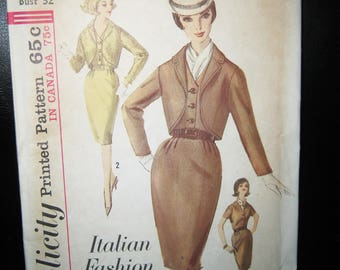 Simplicity Printed Pattern #5143, Italian Fashion, Size 12 Dress And Jacket, Uncut Unused, Complete Pattern, 1950's Dress Pattern,