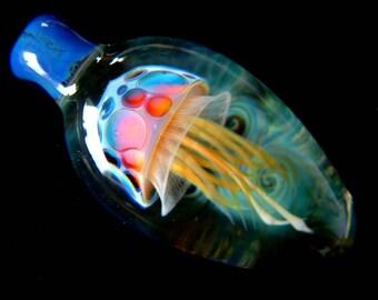 Flat Jellyfish Pendant - Rainbow Gold - Weelainy Lampworked Glass - Boro Borosilicate (W10)