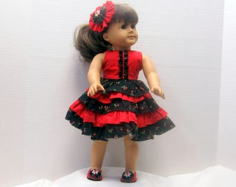 Red and Black Ruffled Skirt dress with matching shoes and headpiece to fit American Girl 18in. Dolls