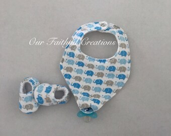 Elephant Pacifier Bib and Slippers Set, Blue Elephant Bib, Binky Bib, Boy Bib, Pacifier Holder, Pacifier Clip, Drool Bib, Crib Shoes
