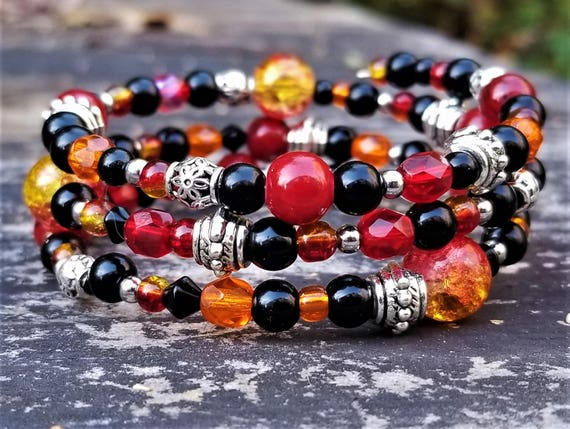 Reyes Summer Festival Fire Bracelet: Red, Orange, Black & Silver