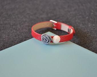 Red faux leather flower bracelet
