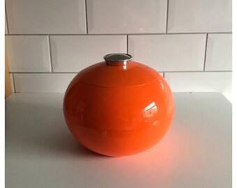 Vintage Retro Round Orange Plastic Ice Bucket, Made by DÉPOSÉ France.
