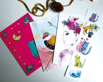 Promotion - End of stock - set of 3 illustrated postcards and 1 bookmark