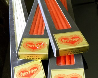Four Boxes of 12 Mid Century Hjerte Lys Tiny Taper Candles--3 Boxes of Red, 1 Box of White--Never Used--In Original Boxes