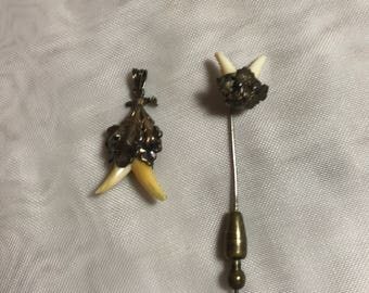 Vintage Charivari Hunters Trophy. Fox Teeth  Silver 800 Vermeil. Taxidermy Pendant & pin