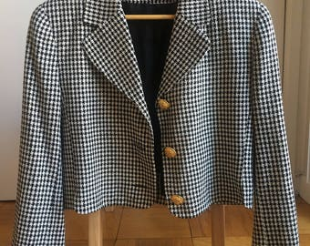 Woven Silk Chic Houndstooth Jacket