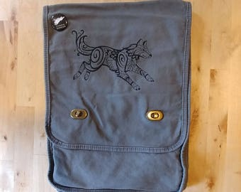 North Wind Wolf Embroidered Canvas Field Bag in Smoke Gray
