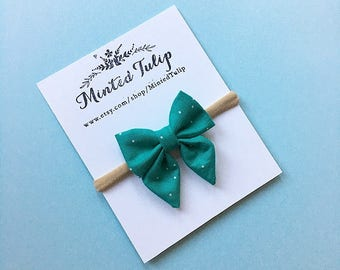 Teal Sprinkle Dot Print Small or Large Sailor Bow or Classic Bow Bow on Headband or Hair Clip Baby Toddler Kids