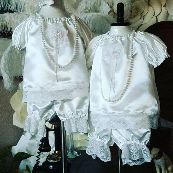 Laced Bloomers Set, Satin and Lace Baby, Bloomers Set, Baptismal Celebration Infant Set, Girl Laced Bloomers Set, Infant Lace Bloomers set