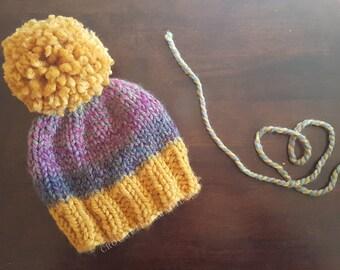 Chunky knit unicorn yarn beanie mustard brim astroland giant pom pom baby toddler child teen adult winter hat