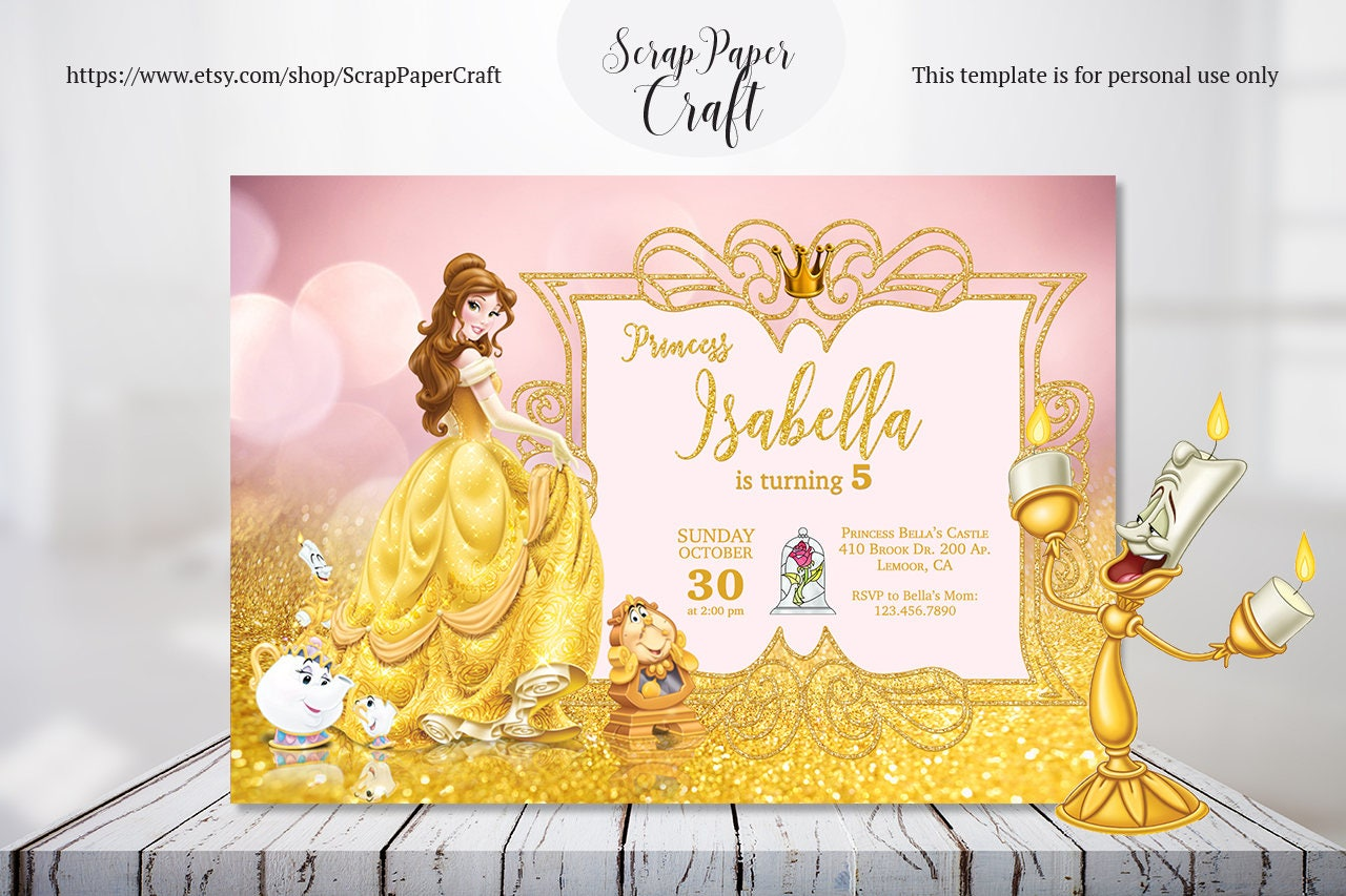 Beauty and the beast birthday invitation personalized belle beauty and the beast birthday invitation personalized belle invitation princess belle invitation girl birthday filmwisefo