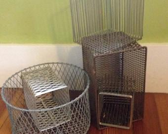 vintage laboratory metal wire baskets , set of 5